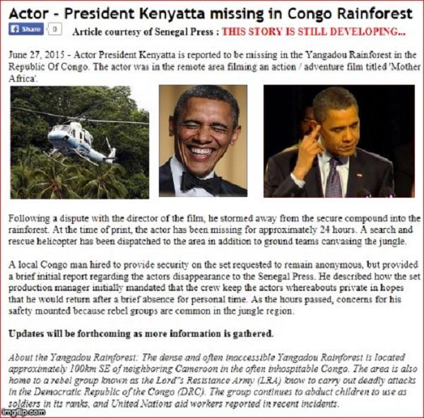 President Kenyatta missing ibn rainforrest ~ 600 ~