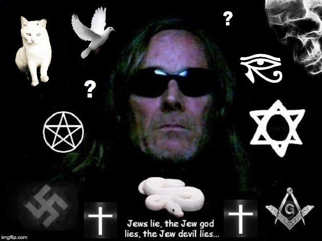 Jews lie ~ Snake dove cat ~ Eye Skull Masonic square and Compass Star of David Pentagram