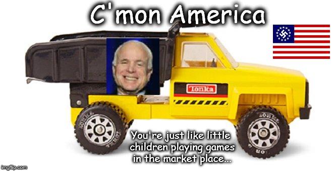McCain Tonka truck Nazi American flag