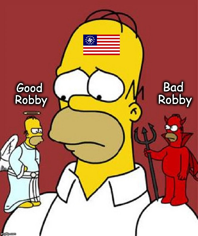 Homer in two minds, devil angel Nazi