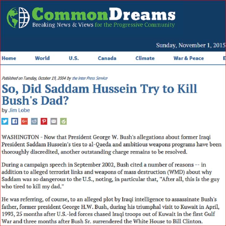 Common dreams pst GHW Bus Saddam Hussen