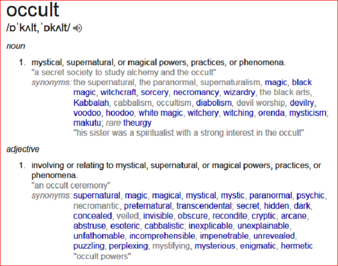 Occult meaning screenshot