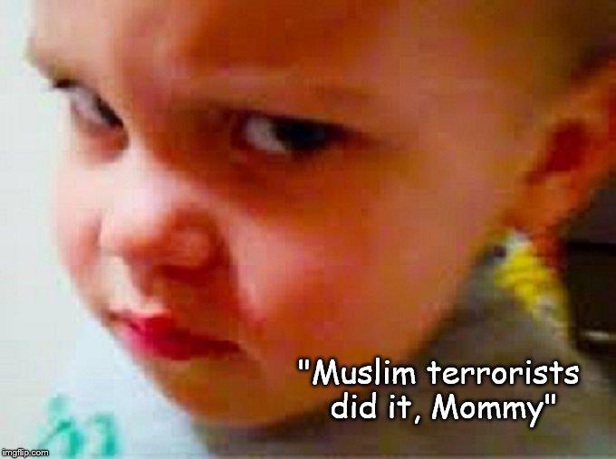 Angry boy Muslim terrorists