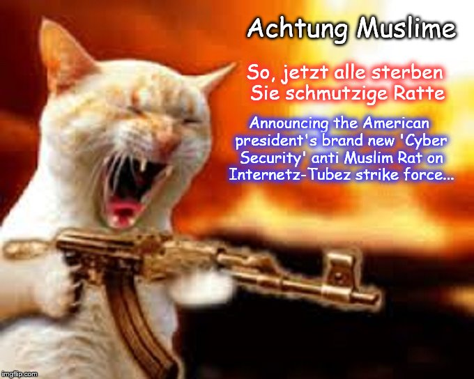 Cyber Security Cat death to Muslim Rats