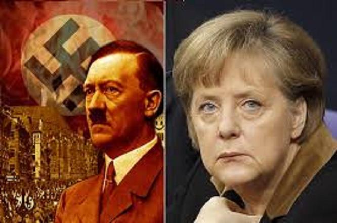 Merkel and Adolf Hitler