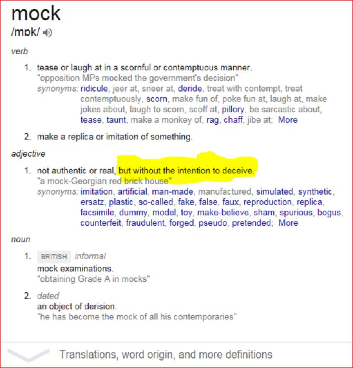 Mock meaning Screenshot