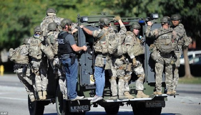 Swat training team on truck
