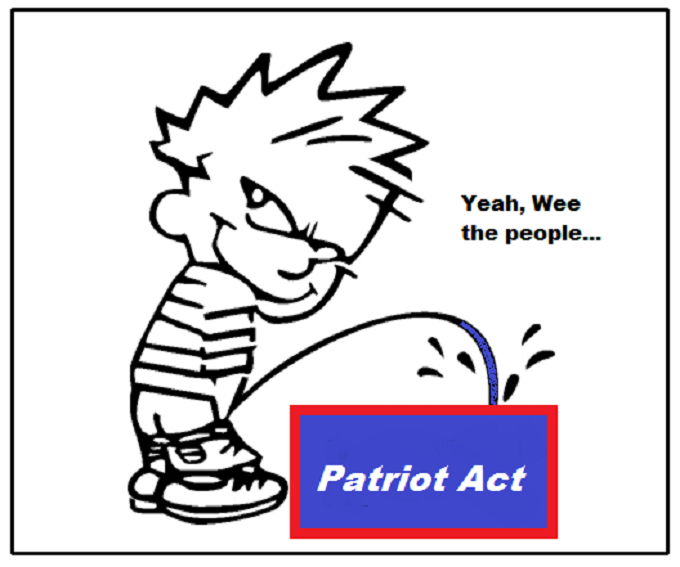 Boy pissing Wee the people piss on the Patriot Act