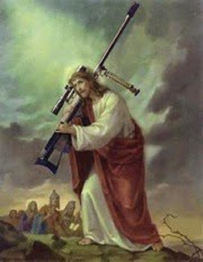 Christ with machine gun