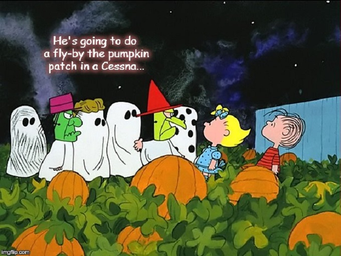 Great Pumpkin fly by Charlie Brown Cessna 680