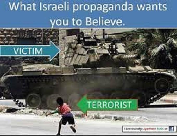 Israel terrorist propaganda TANK child throwing stone