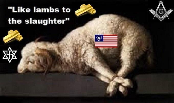 Lambs to the slaughter Masons Swastika American flag GOLD