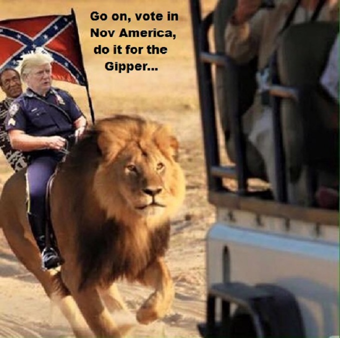 Trump riding lion Vote ~ Do it for the Gipper 680