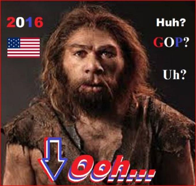 2016 GOP Neanderthal Oh Uh American flag