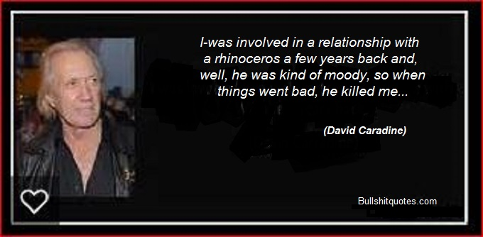 David Caradine rhinoceros quote