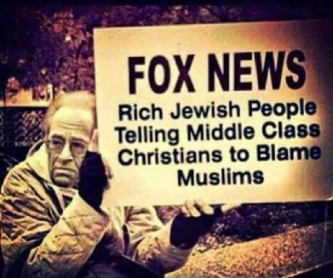 Fox News ~ Rich Jews telling Xtians to hate Muslims