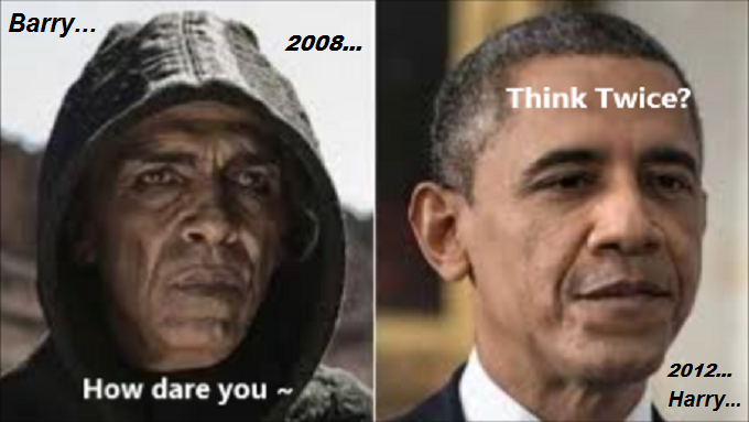 Obama Harry and Barry how dare you think twice 2008 2012