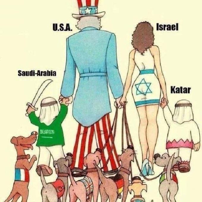The Zionist pyramid Israel Saudi plus dogs