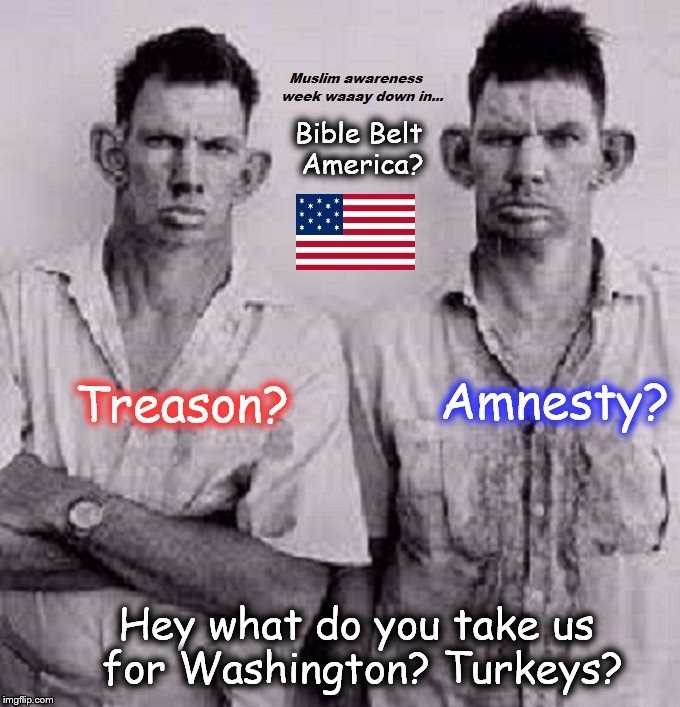Treason Amnesty Bible Belt inbred Muslim awareness week