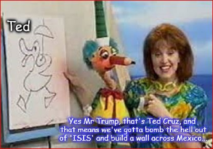 Trump Cruz and Mr Squiggle