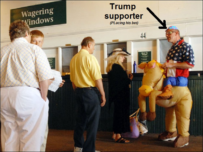 Horse suit wager bet TRUMP