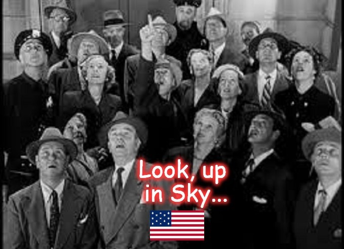 Look up in the sky American flag