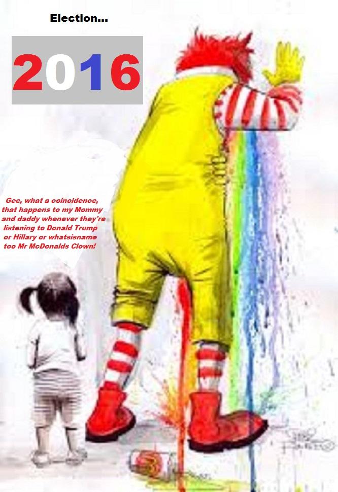 Ronald McDonald puking 2016 election clown