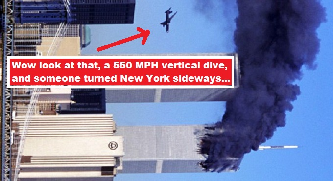 Wow vertical dive 911 plane twin towers image