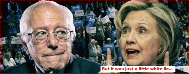 Bernie and Hillary littlew white lie