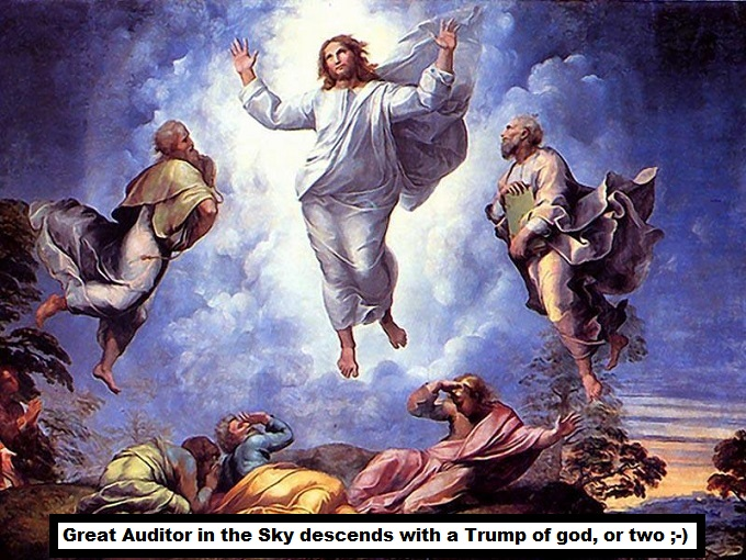 Christ's asxension Great Auditor in the Sky Trump