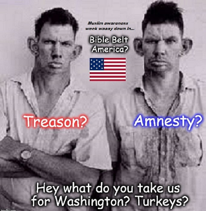 Treason Amnesty Bible Belt inbred Muslim awareness week (2)