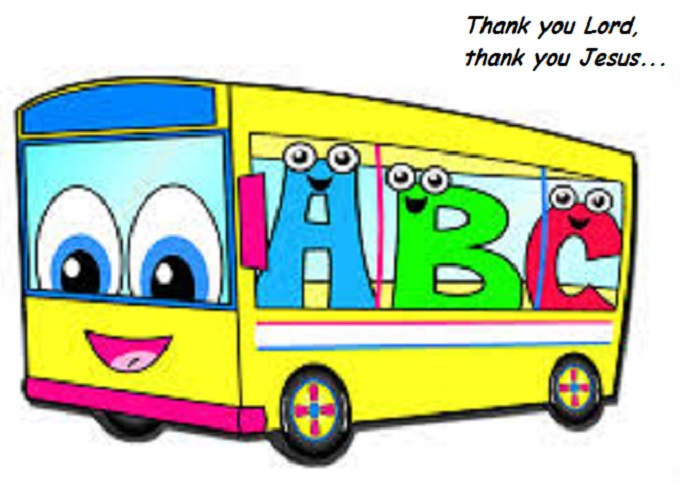 ABC Bus cartoon ~ Thank you Jesus