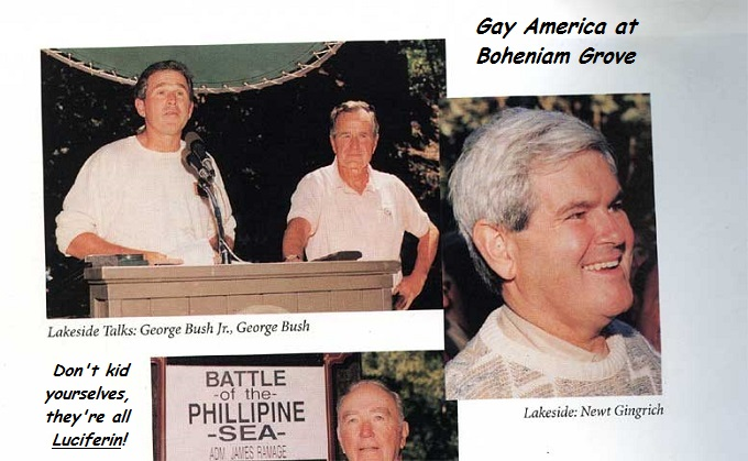Bohemian Grove Bush Bush and Newt gay America