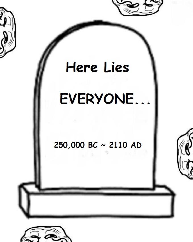 Here lies everyone BLINK 250,000 BC 2110 AD