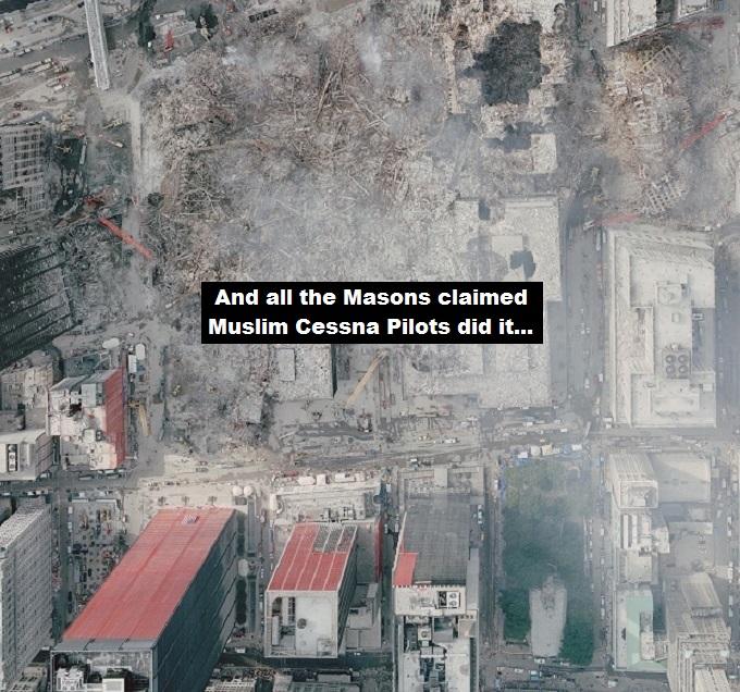 911 attack sky shot ~ 620 ~ Masons claim Muslim Cessna Pilots did it