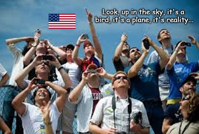Look up in the sky reality American flag