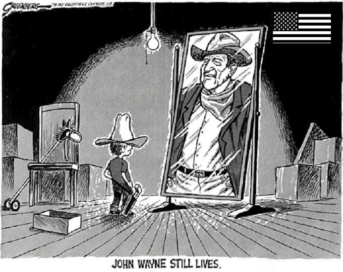 John Wayne kid American flag