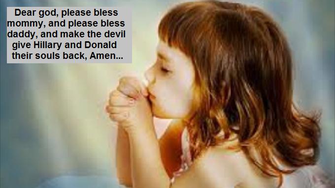 Little child praying Donald and Hillary