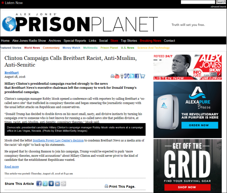 Prison Planet Header Clinton Breitbart