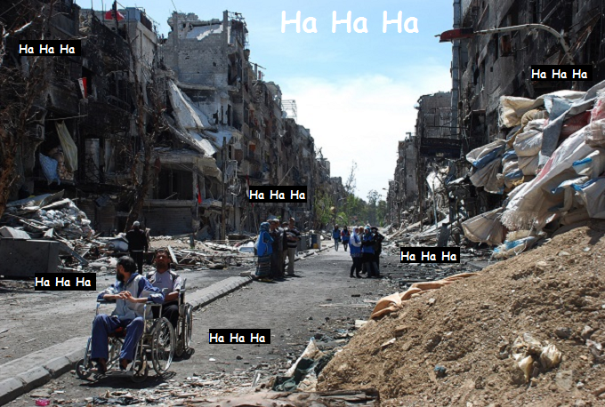 Syrian bombing wheelchair victims Ha Ha Ha