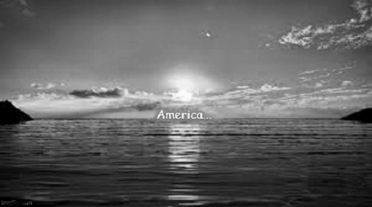 America sunset black and white