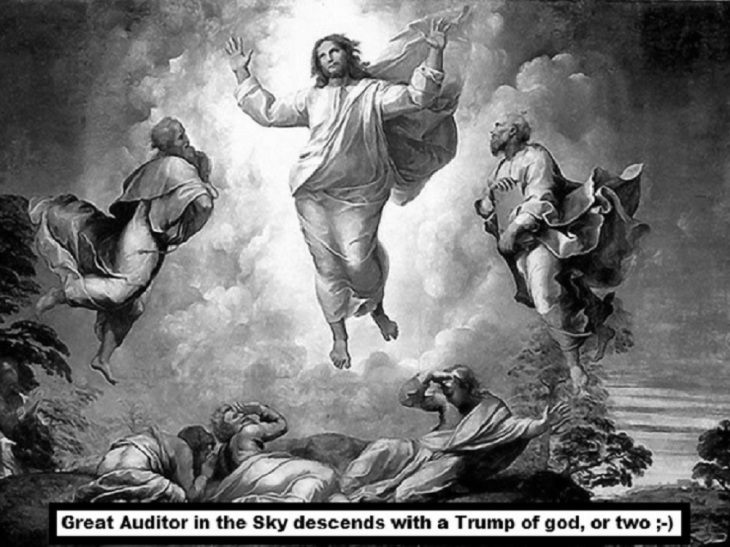 Great auditor in the sky black and white