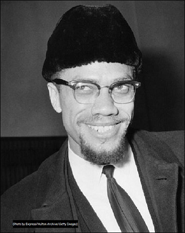 Malcolm X with logo Getty Images RATE