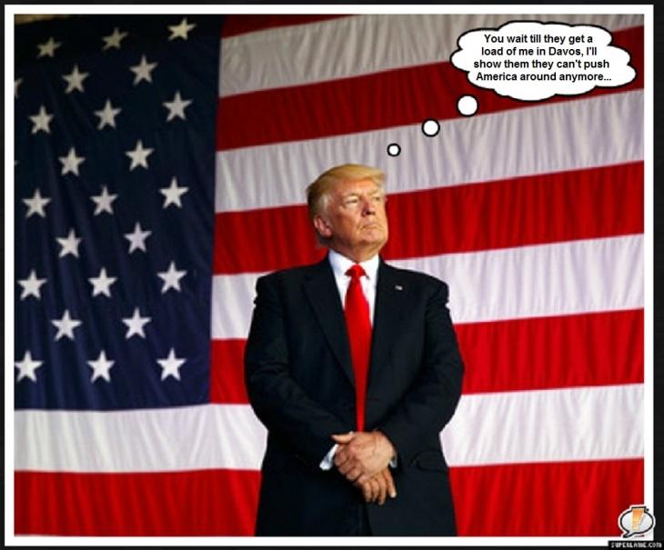 Trumpf flag presidential Davos America