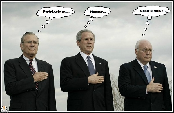 Cheney Bush Rumsfeld patriotism honour gastric re-flux 600
