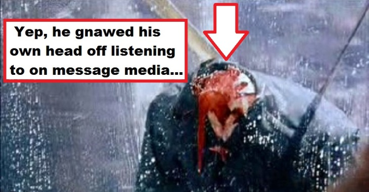 Gnawed his own head off ~ On message media ARROW