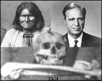 Geronimo Prescott Bush and Geronimo's skull BEFORE AND AFTER